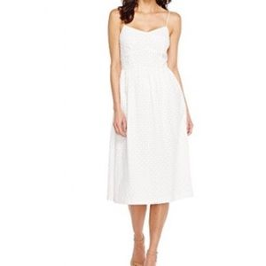 CeCe Fit and Flare White Eyelet Midi Dress NWT